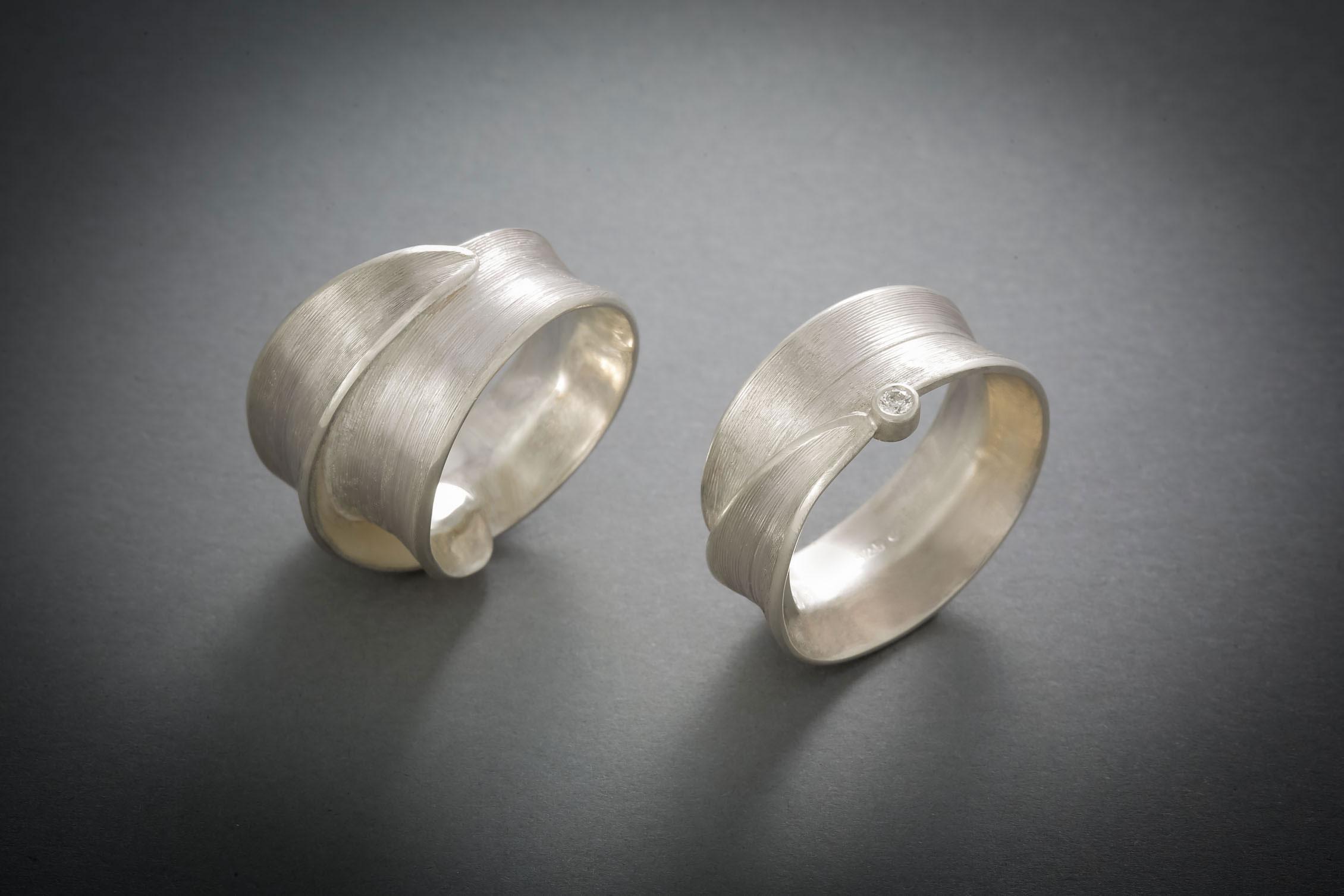 002 Grasring, Silber € 168,- mit Brillant € 294,-