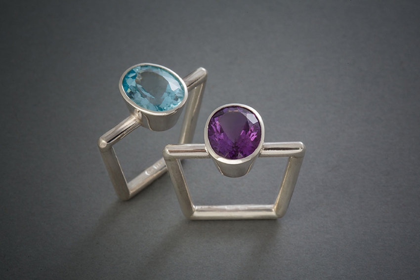 026 Trapezring Silber, Topas € 258,- Amethyst € 286,-