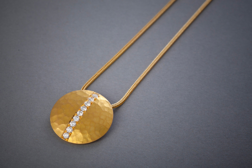 089 21kt Goldkette, Brillantlinie, ab € 2554,-